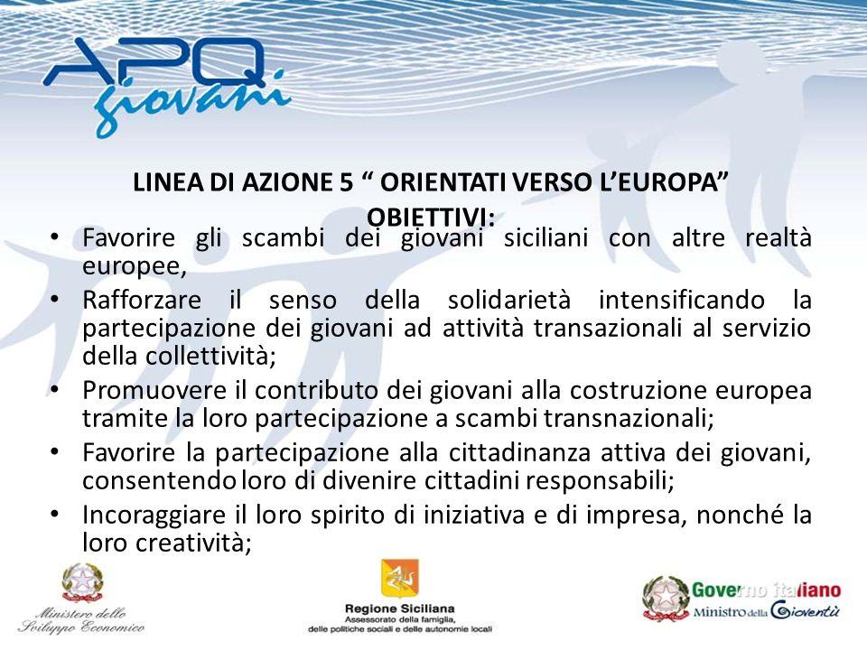 LINEA DI AZIONE 5 ORIENTATI VERSO LEUROPA OBIETTIVI: Favorire gli scambi dei giovani siciliani con altre realtà europee, Rafforzare il senso della sol