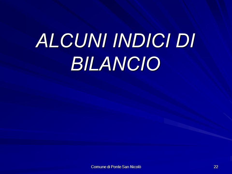 Comune di Ponte San Nicolò 22 ALCUNI INDICI DI BILANCIO