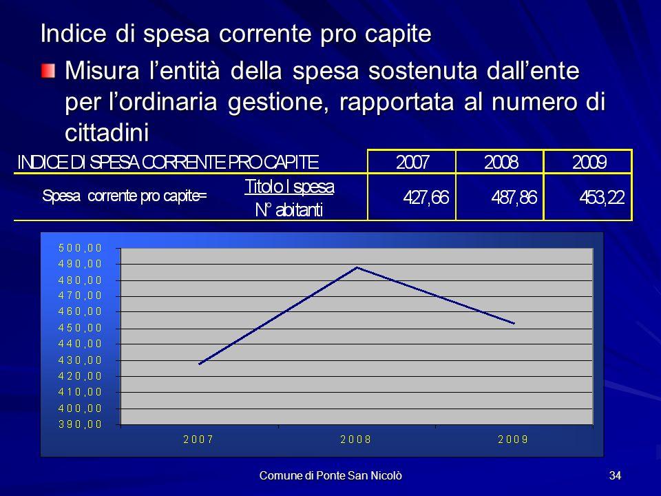 Comune di Ponte San Nicolò 34 Indice di spesa corrente pro capite Misura lentità della spesa sostenuta dallente per lordinaria gestione, rapportata al numero di cittadini