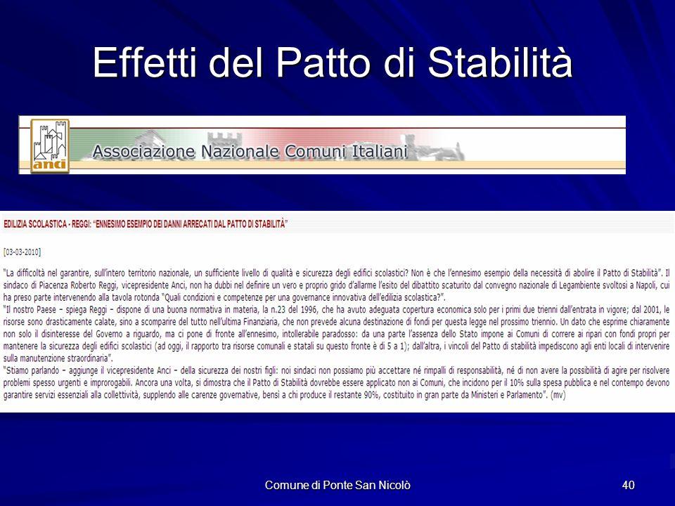 Comune di Ponte San Nicolò 40 Effetti del Patto di Stabilità