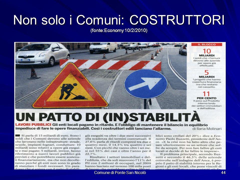 Comune di Ponte San Nicolò 44 Non solo i Comuni: COSTRUTTORI (fonte:Economy 10/2/2010)