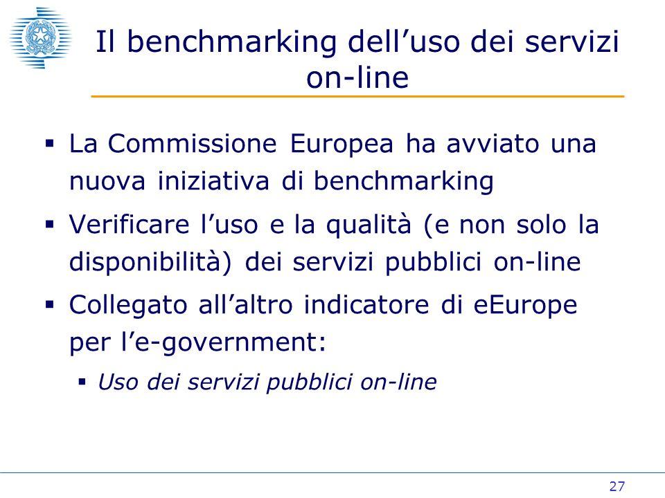 27 Il benchmarking delluso dei servizi on-line La Commissione Europea ha avviato una nuova iniziativa di benchmarking Verificare luso e la qualità (e non solo la disponibilità) dei servizi pubblici on-line Collegato allaltro indicatore di eEurope per le-government: Uso dei servizi pubblici on-line