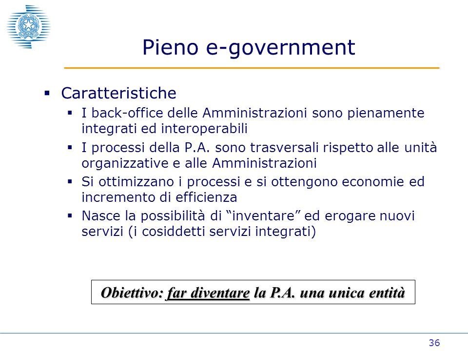 36 Caratteristiche I back-office delle Amministrazioni sono pienamente integrati ed interoperabili I processi della P.A.