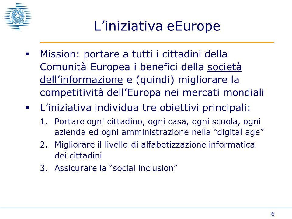 17 La disponibilità dei servizi pubblici on line (eEurope) - 2003