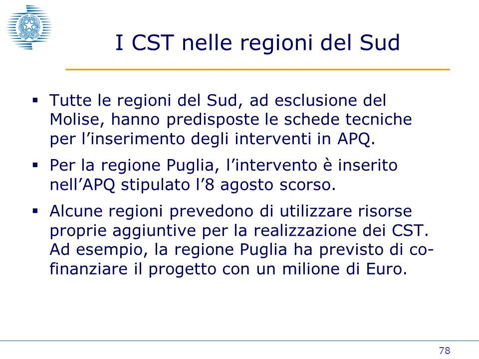 78 I CST nelle regioni del Sud Tutte le regioni del Sud, ad esclusione del Molise, hanno predisposte le schede tecniche per linserimento degli interventi in APQ.