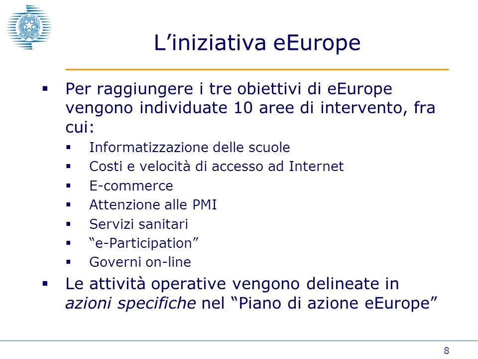 9 Liniziativa eEurope Lo stato di avanzamento dei Paesi UE sulle tematiche eEurope viene verificato attraverso una costante attività di benchmarking Definizione di un insieme limitato di indicatori di risultato e di andamento (23) Approccio comparativo alle diverse situazioni nazionali per garantire coerenza fra obiettivi e interventi Dei 23 indicatori definiti da eEurope, 2 riguardano le tematiche dellegovernment: Percentuale dei servizi pubblici disponibili on-line Uso, da parte dei cittadini, dei servizi pubblici Vengono individuati 20 servizi pubblici prioritari a cui dare la precedenza (12 per i cittadini ed 8 per le imprese)