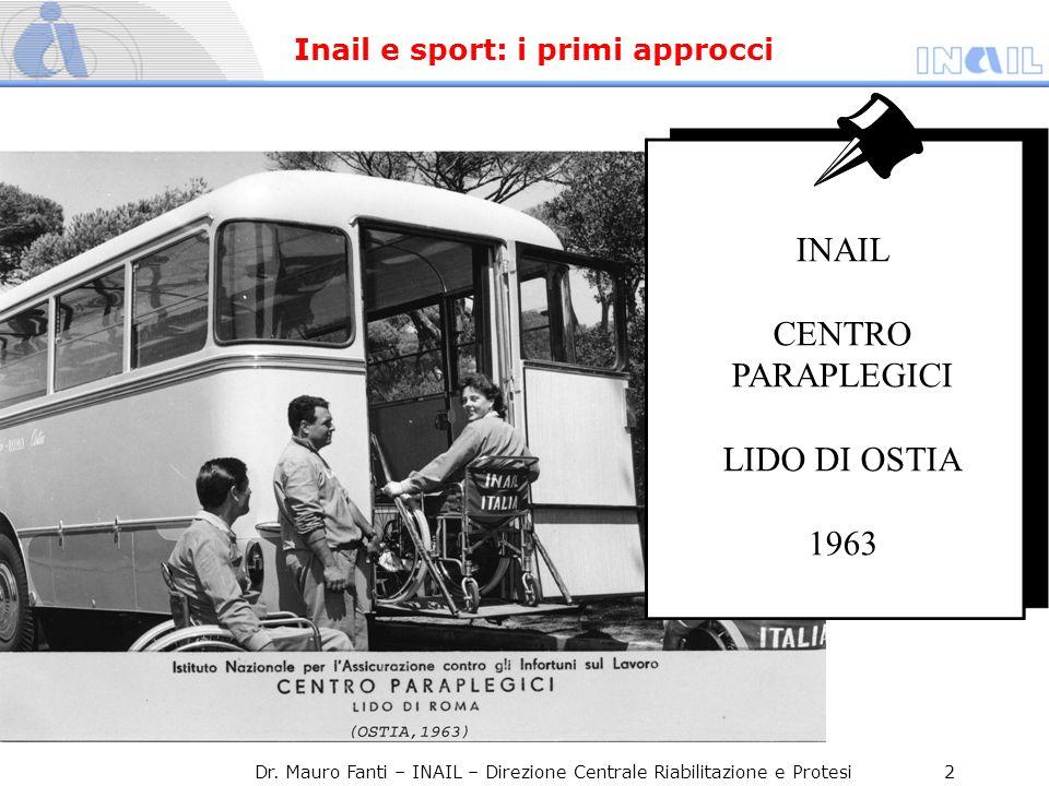 INAIL CENTRO PARAPLEGICI LIDO DI OSTIA 1963 Dr. Mauro Fanti – INAIL – Direzione Centrale Riabilitazione e Protesi 2 Inail e sport: i primi approcci
