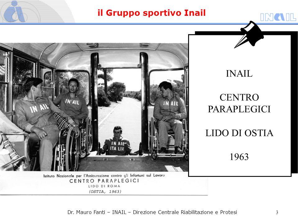 INAIL CENTRO PARAPLEGICI LIDO DI OSTIA 1963 Dr. Mauro Fanti – INAIL – Direzione Centrale Riabilitazione e Protesi 3 il Gruppo sportivo Inail