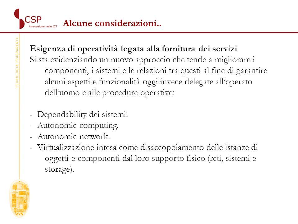 Esigenza di operatività legata alla fornitura dei servizi.