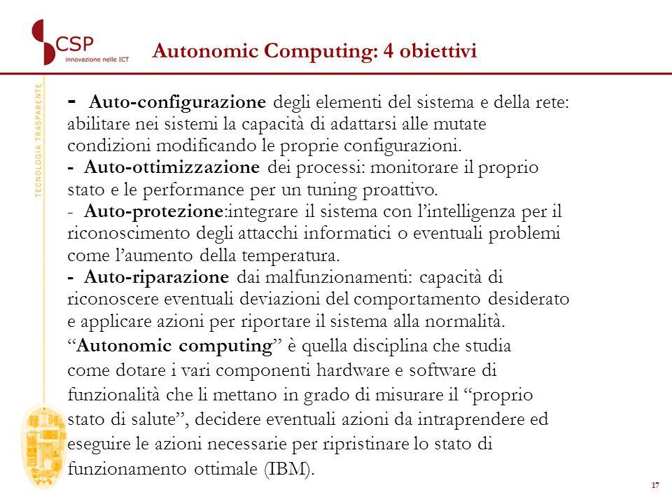 17 Autonomic Computing: 4 obiettivi - Auto-configurazione degli elementi del sistema e della rete: abilitare nei sistemi la capacità di adattarsi alle mutate condizioni modificando le proprie configurazioni.