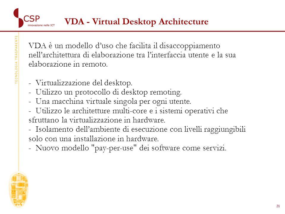 21 VDA - Virtual Desktop Architecture VDA è un modello duso che facilita il disaccoppiamento nellarchitettura di elaborazione tra linterfaccia utente e la sua elaborazione in remoto.