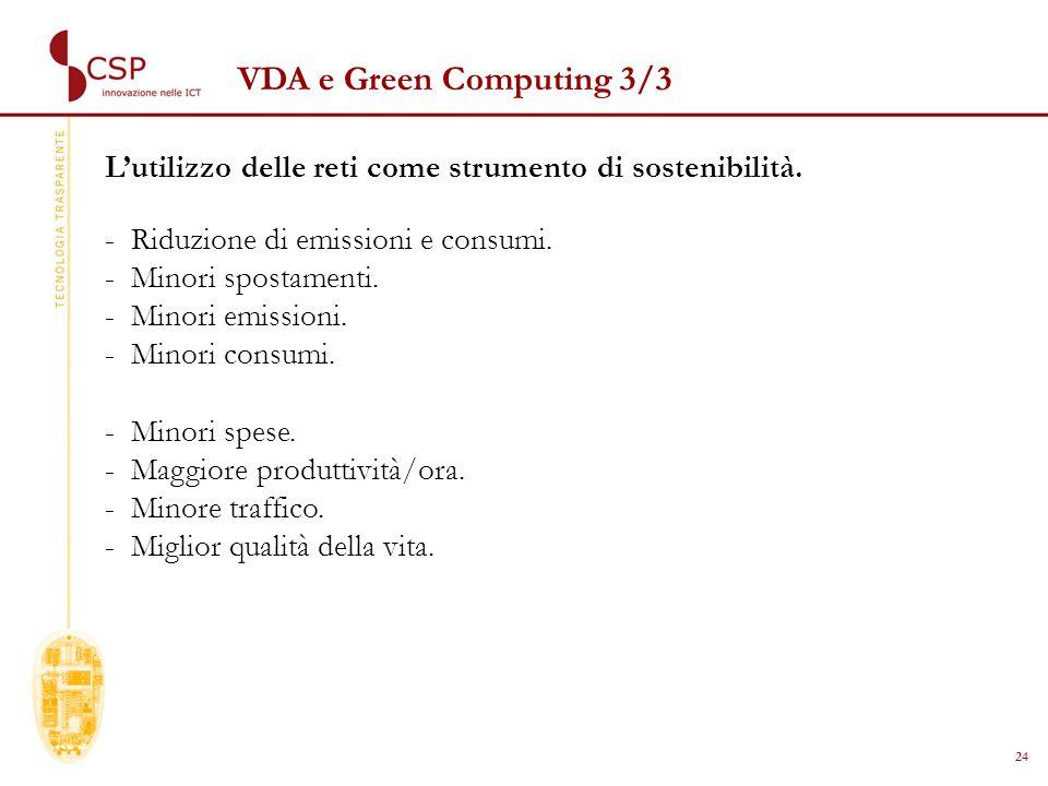 24 VDA e Green Computing 3/3 Lutilizzo delle reti come strumento di sostenibilità.