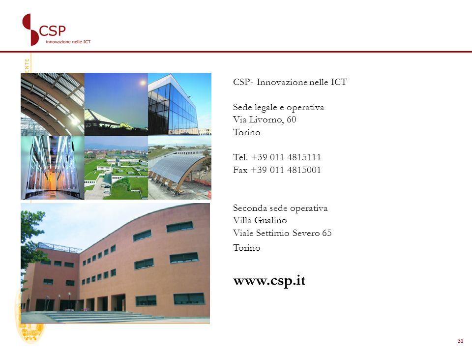 31 CSP- Innovazione nelle ICT Sede legale e operativa Via Livorno, 60 Torino Tel.