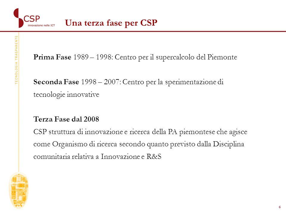 6 Una terza fase per CSP Prima Fase 1989 – 1998: Centro per il supercalcolo del Piemonte Seconda Fase 1998 – 2007: Centro per la sperimentazione di tecnologie innovative Terza Fase dal 2008 CSP struttura di innovazione e ricerca della PA piemontese che agisce come Organismo di ricerca secondo quanto previsto dalla Disciplina comunitaria relativa a Innovazione e R&S