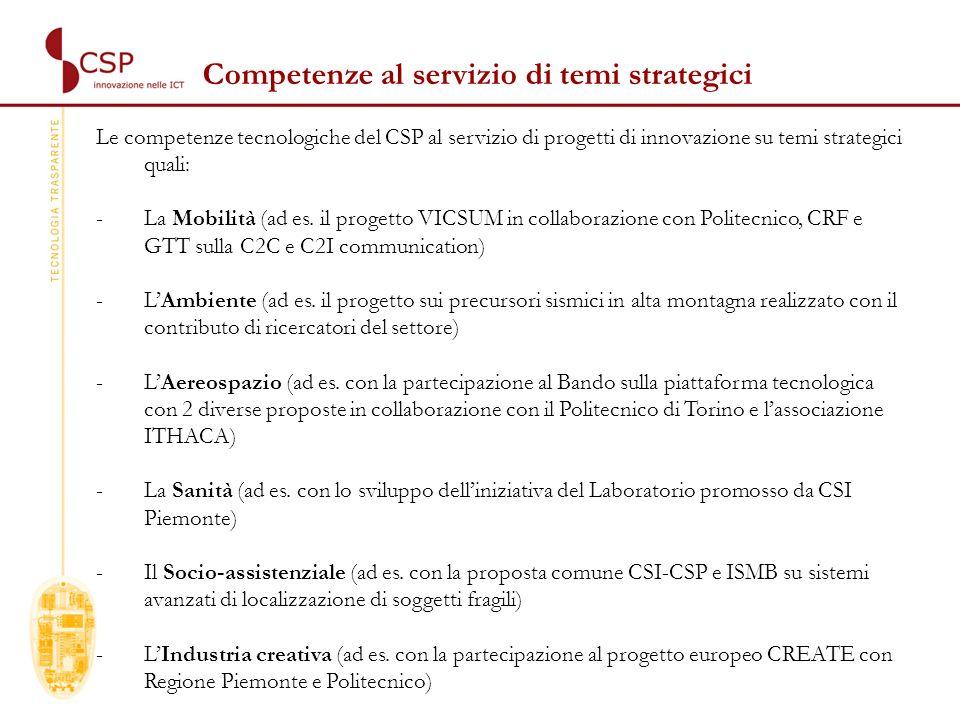 Le competenze tecnologiche del CSP al servizio di progetti di innovazione su temi strategici quali: -La Mobilità (ad es.