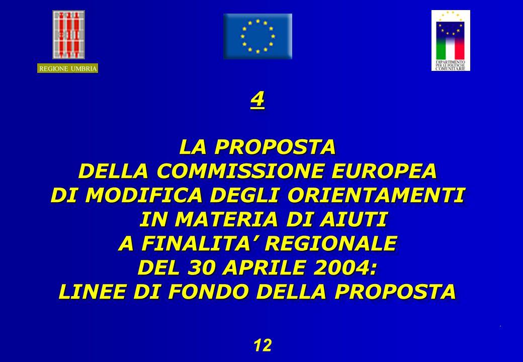 . 12 4 LA PROPOSTA DELLA COMMISSIONE EUROPEA DI MODIFICA DEGLI ORIENTAMENTI IN MATERIA DI AIUTI A FINALITA REGIONALE DEL 30 APRILE 2004: LINEE DI FONDO DELLA PROPOSTA 4 LA PROPOSTA DELLA COMMISSIONE EUROPEA DI MODIFICA DEGLI ORIENTAMENTI IN MATERIA DI AIUTI A FINALITA REGIONALE DEL 30 APRILE 2004: LINEE DI FONDO DELLA PROPOSTA