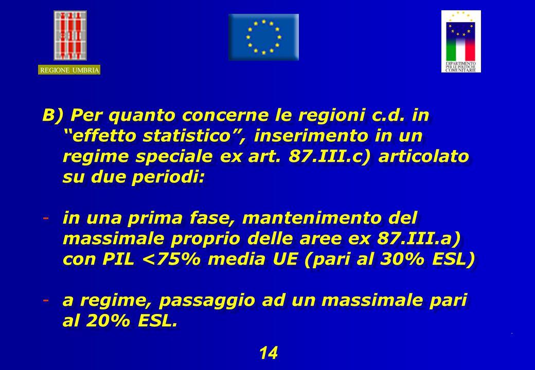 14 B) Per quanto concerne le regioni c.d.