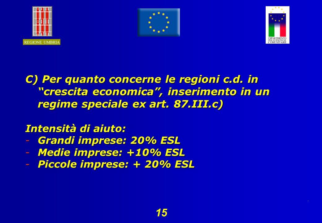 15 C) Per quanto concerne le regioni c.d.