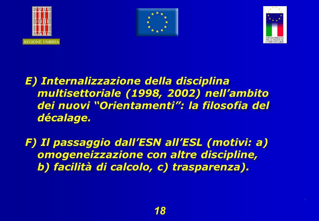 18 E) Internalizzazione della disciplina multisettoriale (1998, 2002) nellambito dei nuovi Orientamenti: la filosofia del décalage.
