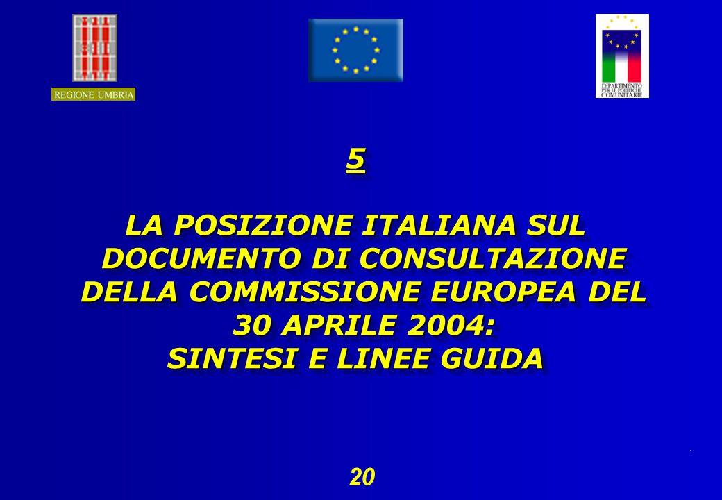 . 20 5 LA POSIZIONE ITALIANA SUL DOCUMENTO DI CONSULTAZIONE DELLA COMMISSIONE EUROPEA DEL 30 APRILE 2004: SINTESI E LINEE GUIDA 5 LA POSIZIONE ITALIANA SUL DOCUMENTO DI CONSULTAZIONE DELLA COMMISSIONE EUROPEA DEL 30 APRILE 2004: SINTESI E LINEE GUIDA
