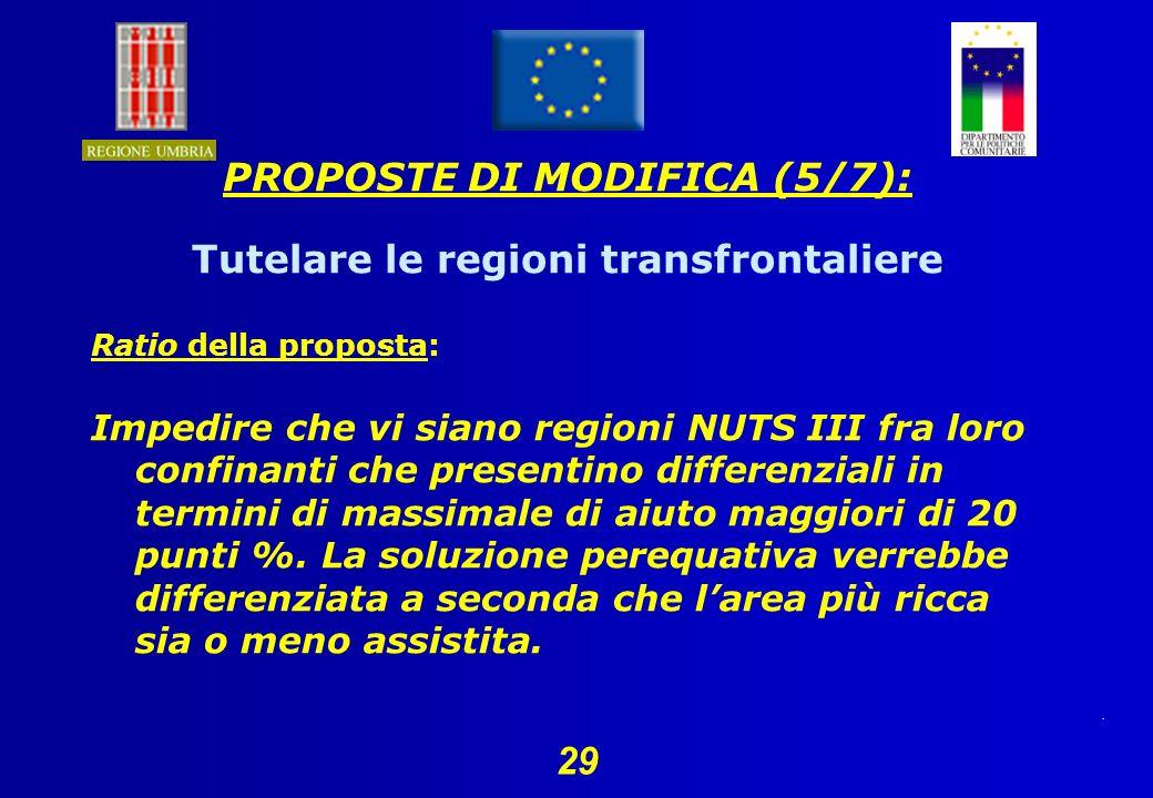 29 PROPOSTE DI MODIFICA (5/7): Tutelare le regioni transfrontaliere Ratio della proposta: Impedire che vi siano regioni NUTS III fra loro confinanti che presentino differenziali in termini di massimale di aiuto maggiori di 20 punti %.