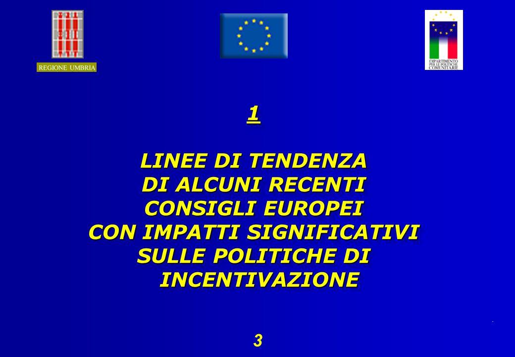 . 3 1 LINEE DI TENDENZA DI ALCUNI RECENTI CONSIGLI EUROPEI CON IMPATTI SIGNIFICATIVI SULLE POLITICHE DI INCENTIVAZIONE 1 LINEE DI TENDENZA DI ALCUNI RECENTI CONSIGLI EUROPEI CON IMPATTI SIGNIFICATIVI SULLE POLITICHE DI INCENTIVAZIONE