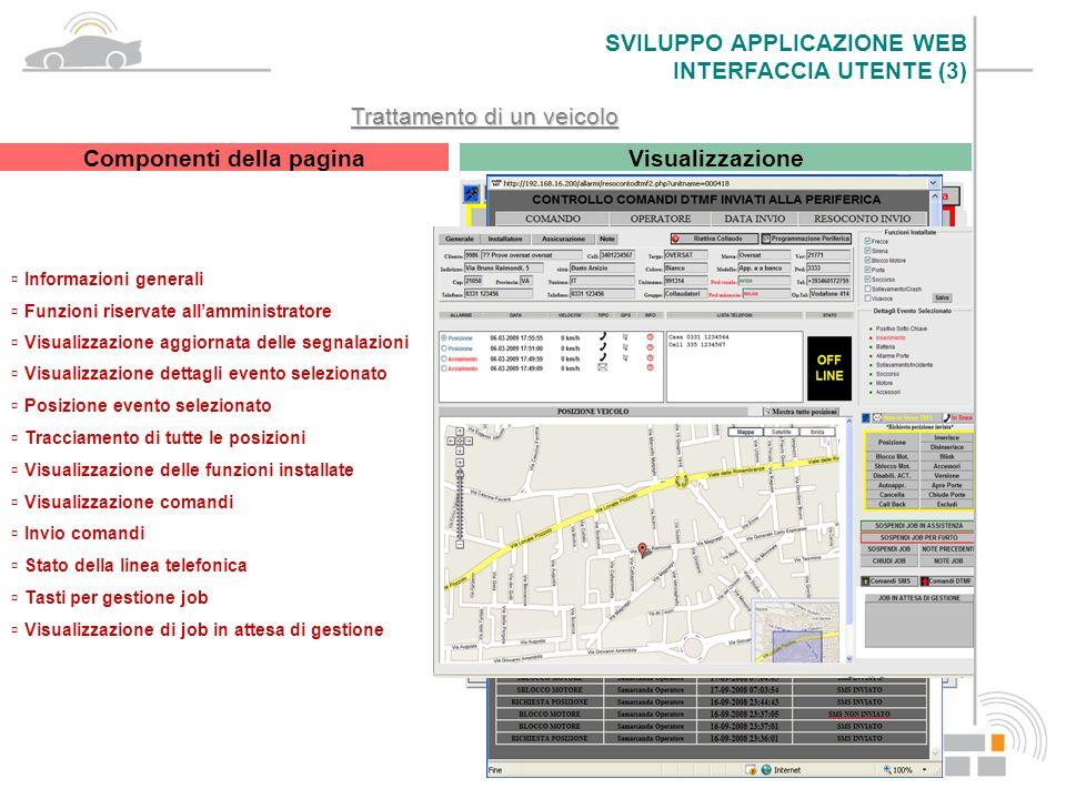 Trattamento di un veicolo Componenti della pagina Informazioni generali Visualizzazione Funzioni riservate allamministratore Visualizzazione aggiornat