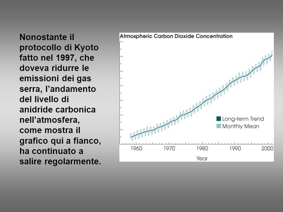 Nonostante il protocollo di Kyoto fatto nel 1997, che doveva ridurre le emissioni dei gas serra, landamento del livello di anidride carbonica nellatmo