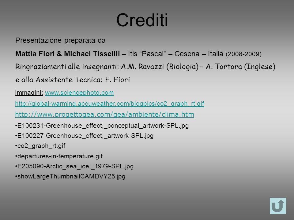 Crediti Presentazione preparata da Mattia Fiori & Michael Tissellii – Itis Pascal – Cesena – Italia (2008-2009) Ringraziamenti alle insegnanti: A.M. R