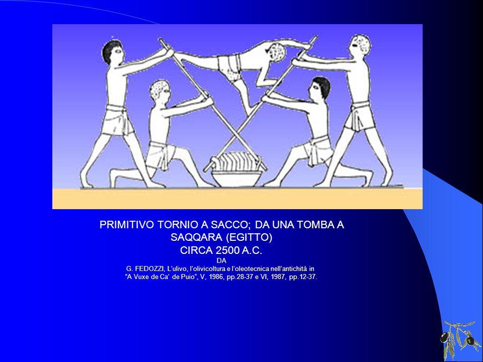 PRIMITIVO TORNIO A SACCO; DA UNA TOMBA A SAQQARA (EGITTO) CIRCA 2500 A.C. DA G. FEDOZZI, Lulivo, lolivicoltura e loleotecnica nellantichità in A Vuxe