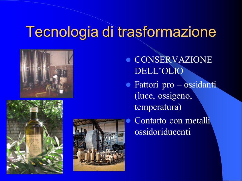Tecnologia di trasformazione CONSERVAZIONE DELLOLIO Fattori pro – ossidanti (luce, ossigeno, temperatura) Contatto con metalli ossidoriducenti