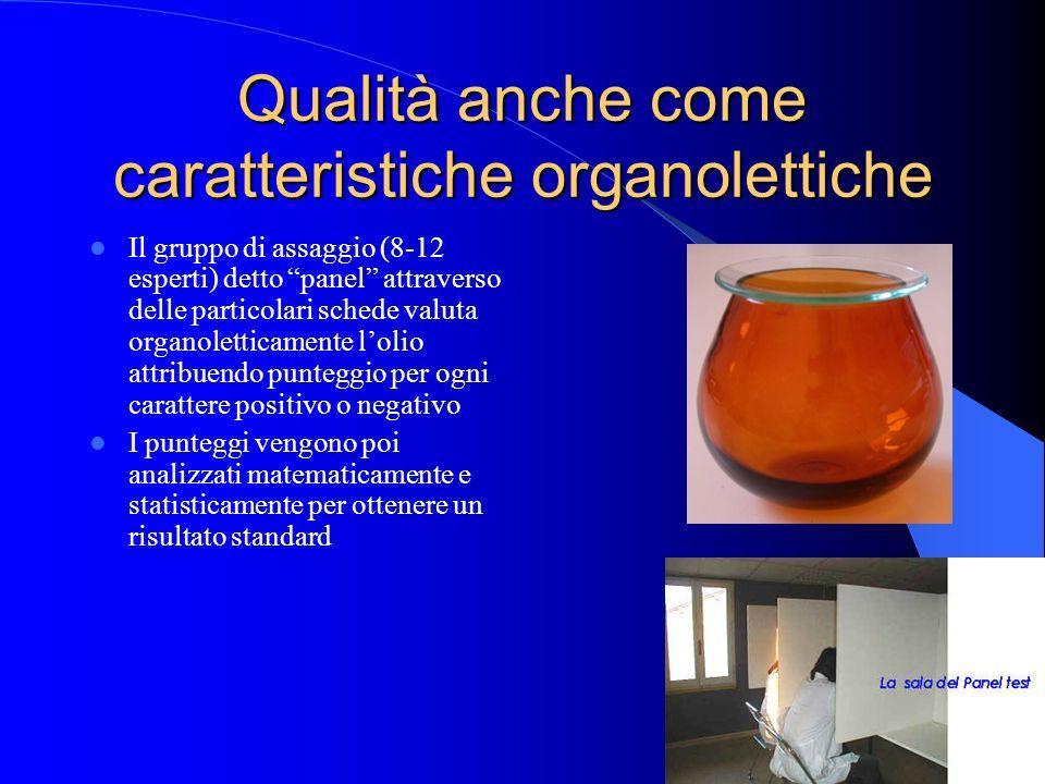 Qualità anche come caratteristiche organolettiche Il gruppo di assaggio (8-12 esperti) detto panel attraverso delle particolari schede valuta organole