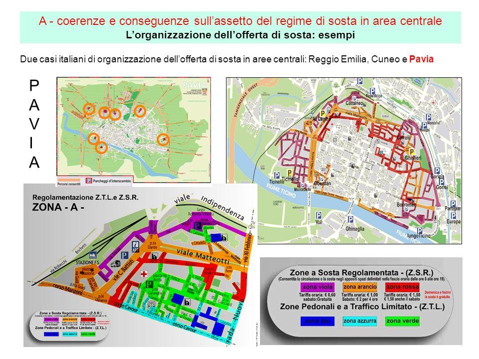 Due casi italiani di organizzazione dellofferta di sosta in aree centrali: Reggio Emilia, Cuneo e Pavia A - coerenze e conseguenze sullassetto del reg