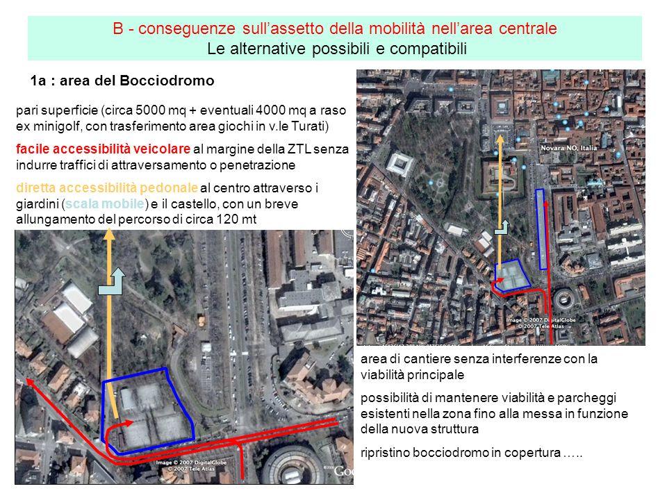 1a : area del Bocciodromo B - conseguenze sullassetto della mobilità nellarea centrale Le alternative possibili e compatibili area di cantiere senza i