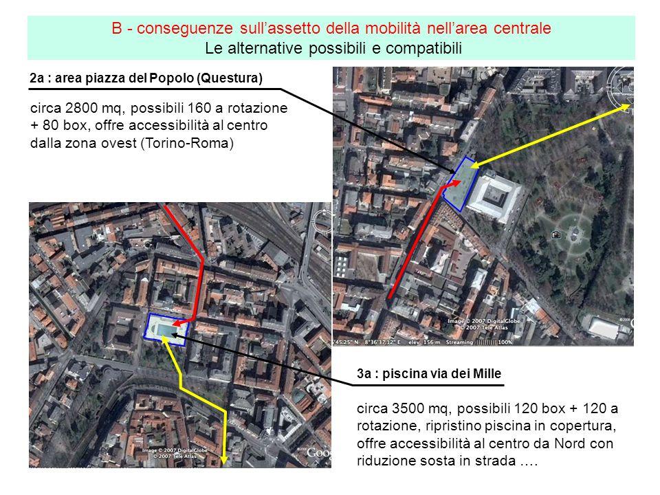 2a : area piazza del Popolo (Questura) B - conseguenze sullassetto della mobilità nellarea centrale Le alternative possibili e compatibili 3a : piscin