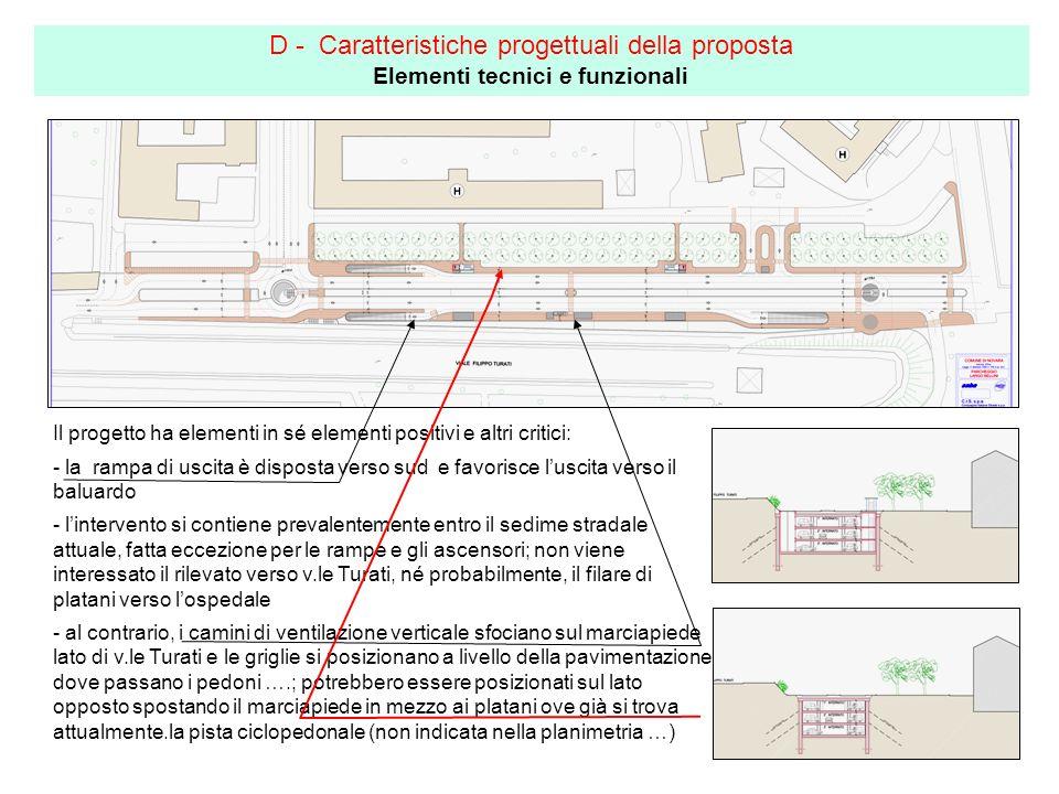 D - Caratteristiche progettuali della proposta Elementi tecnici e funzionali Il progetto ha elementi in sé elementi positivi e altri critici: - la ram