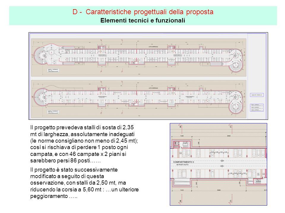 D - Caratteristiche progettuali della proposta Elementi tecnici e funzionali Il progetto prevedeva stalli di sosta di 2,35 mt di larghezza, assolutamente inadeguati (le norme consigliano non meno di 2,45 mt); così si rischiava di perdere 1 posto ogni campata, e con 46 campate x 2 piani si sarebbero persi 86 posti…… Il progetto è stato successivamente modificato a seguito di questa osservazione, con stalli da 2,50 mt, ma riducendo la corsia a 5,60 mt : …un ulteriore peggioramento …..