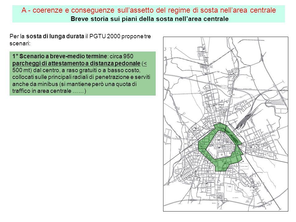 Per la sosta di lunga durata il PGTU 2000 propone tre scenari: 1° Scenario a breve-medio termine: circa 950 parcheggi di attestamento a distanza pedon