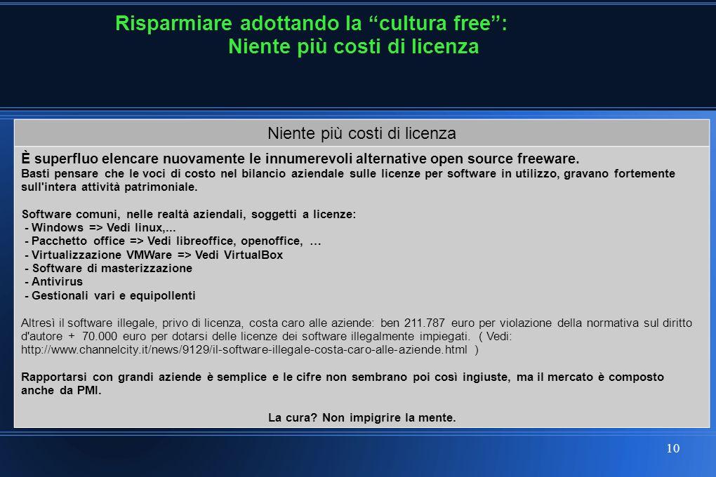10 Risparmiare adottando la cultura free: Niente più costi di licenza È superfluo elencare nuovamente le innumerevoli alternative open source freeware.