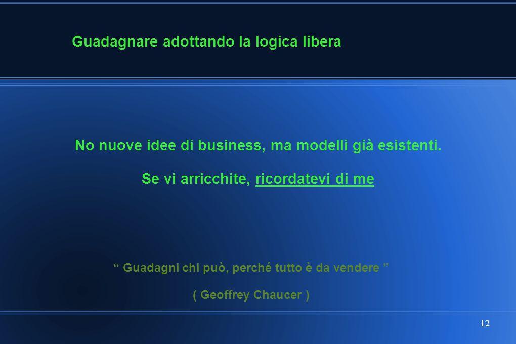 12 Guadagnare adottando la logica libera No nuove idee di business, ma modelli già esistenti.
