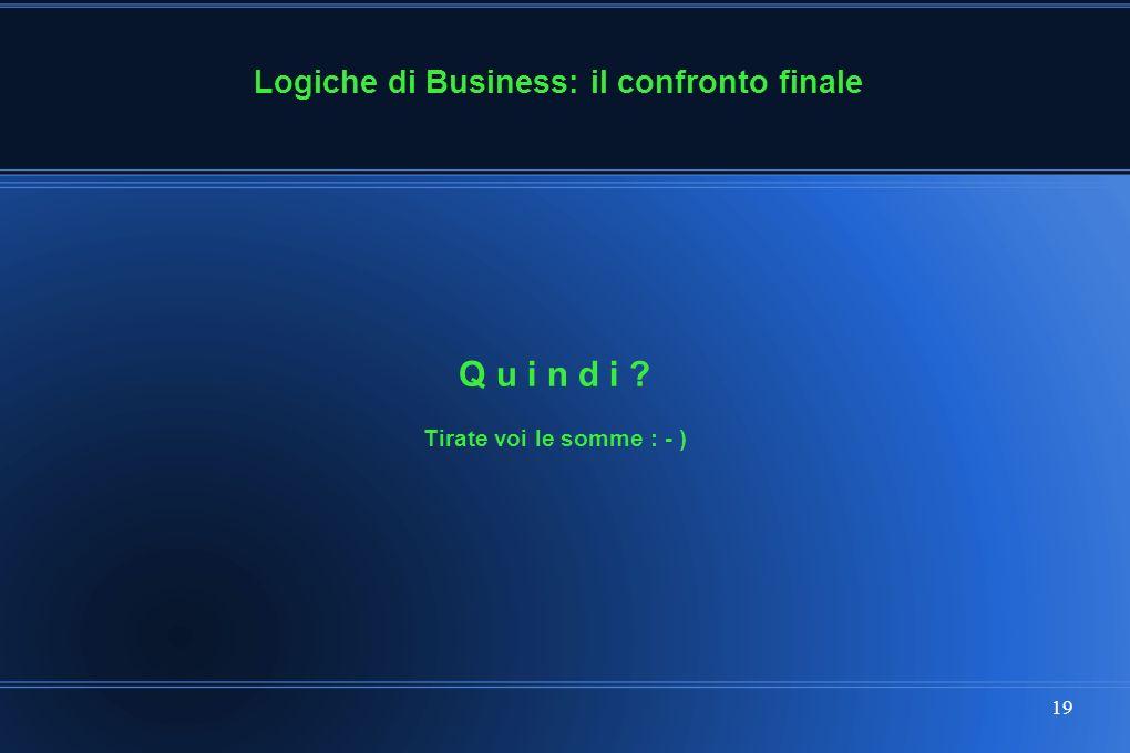 19 Tirate voi le somme : - ) Q u i n d i Logiche di Business: il confronto finale