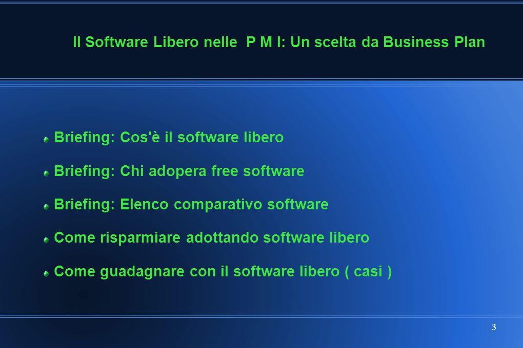 3 Briefing: Cos è il software libero Briefing: Chi adopera free software Briefing: Elenco comparativo software Come risparmiare adottando software libero Come guadagnare con il software libero ( casi ) Il Software Libero nelle P M I: Un scelta da Business Plan