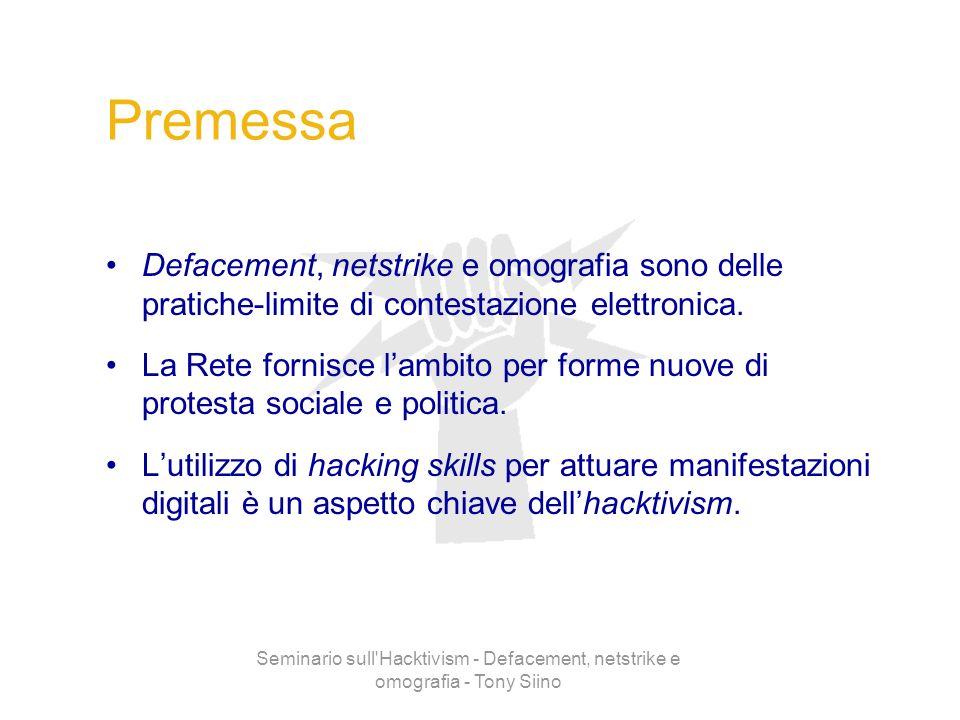 Seminario sull'Hacktivism - Defacement, netstrike e omografia - Tony Siino Premessa Defacement, netstrike e omografia sono delle pratiche-limite di co