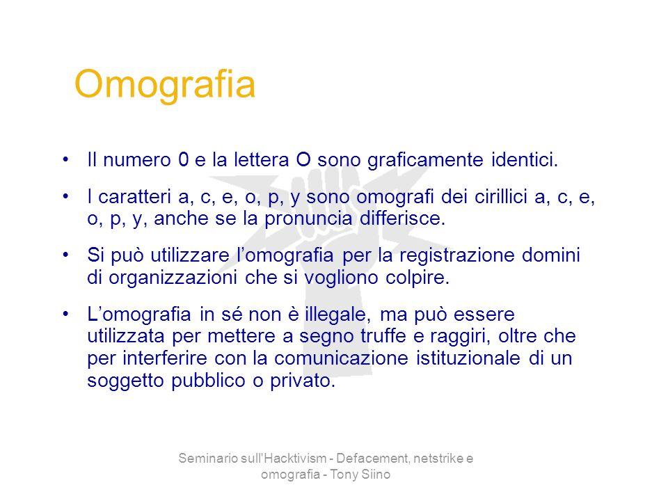Seminario sull'Hacktivism - Defacement, netstrike e omografia - Tony Siino Omografia Il numero 0 e la lettera O sono graficamente identici. I caratter