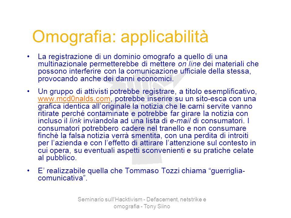 Seminario sull'Hacktivism - Defacement, netstrike e omografia - Tony Siino Omografia: applicabilità La registrazione di un dominio omografo a quello d