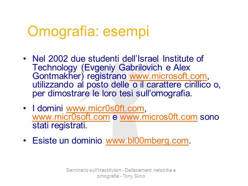 Seminario sull'Hacktivism - Defacement, netstrike e omografia - Tony Siino Omografia: esempi Nel 2002 due studenti dellIsrael Institute of Technology