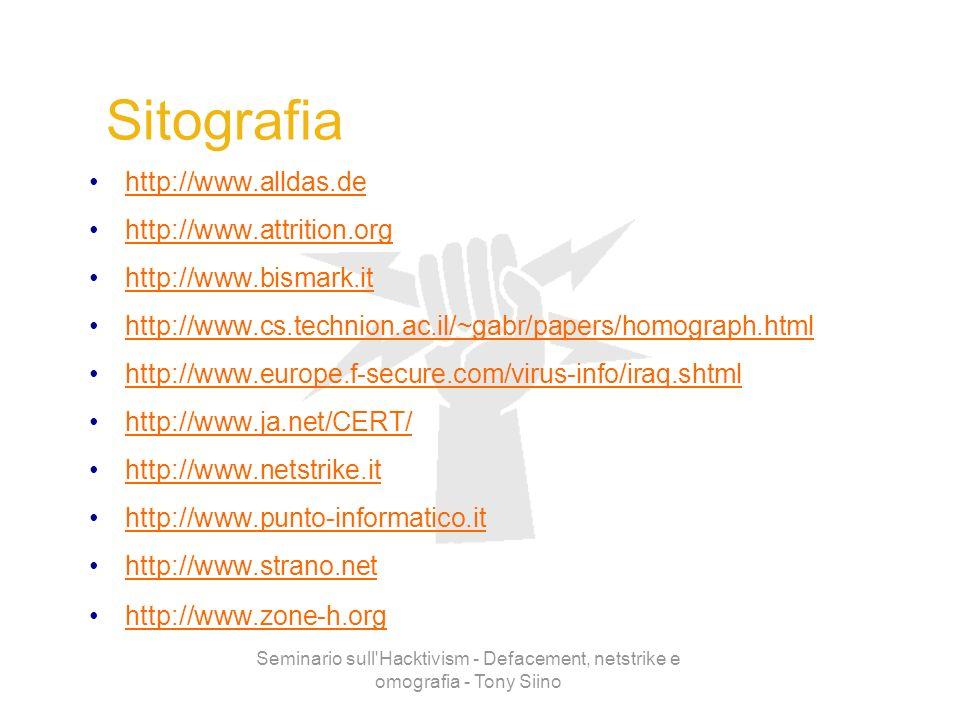 Seminario sull'Hacktivism - Defacement, netstrike e omografia - Tony Siino Sitografia http://www.alldas.de http://www.attrition.org http://www.bismark