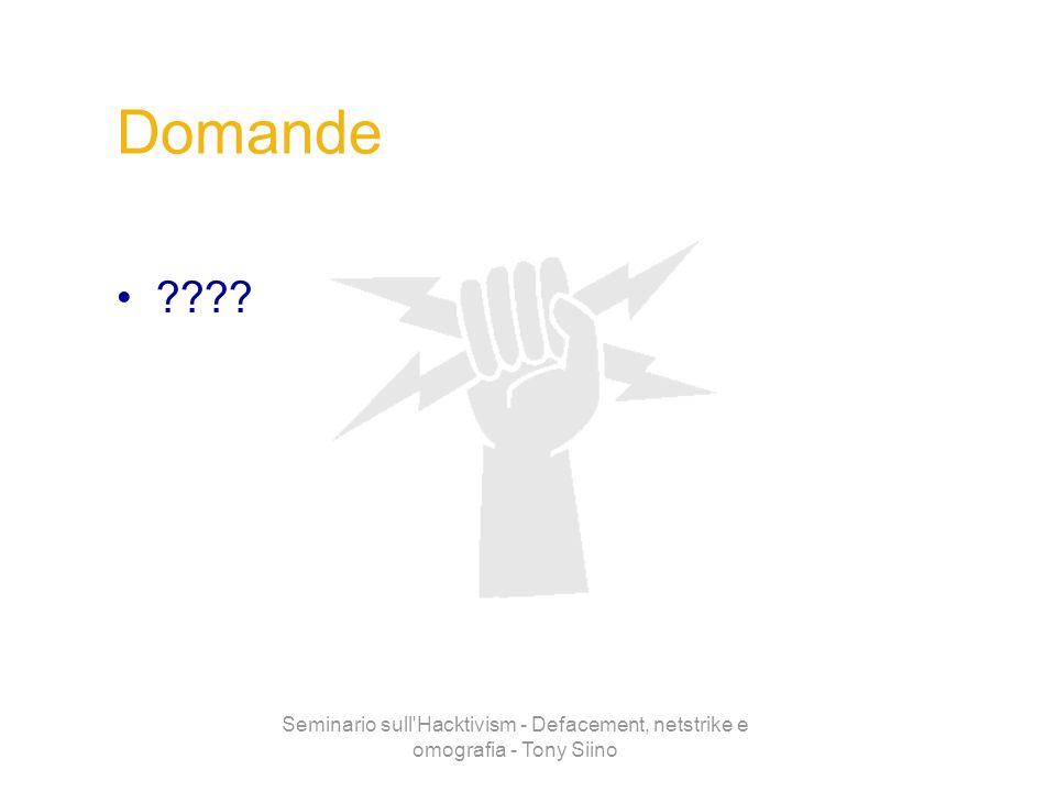 Seminario sull'Hacktivism - Defacement, netstrike e omografia - Tony Siino Domande ????