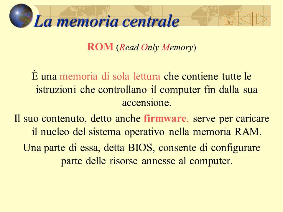 La memoria centrale Assieme alla CPU costituisce una parte fondamentale del computer poiché in essa vengono immagazzinate tutte le informazioni e le i