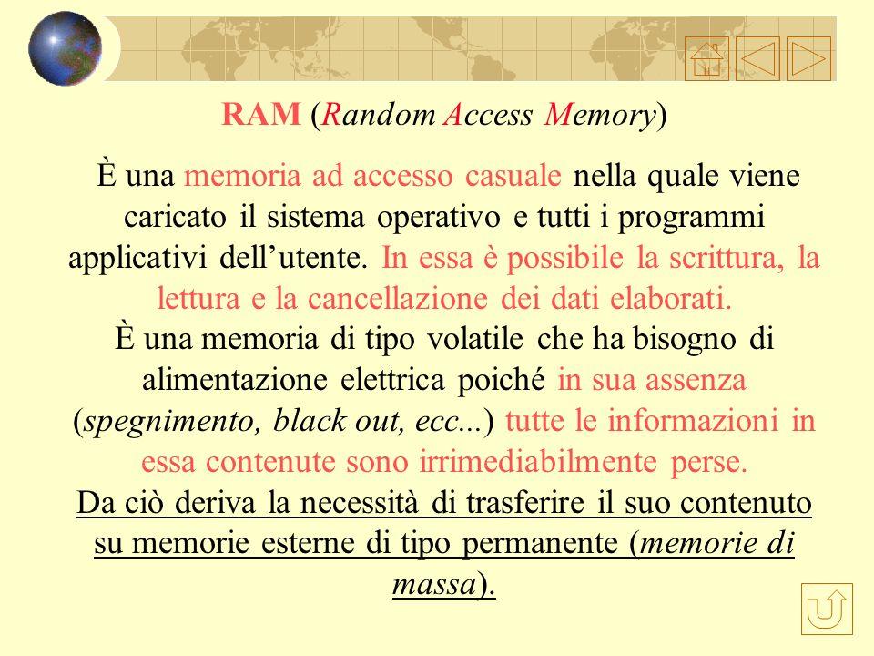 La memoria centrale ROM (Read Only Memory) È una memoria di sola lettura che contiene tutte le istruzioni che controllano il computer fin dalla sua ac
